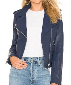 The Perfectionists Sofia Carson Blue Leather Jacket