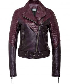 Asymmetrical Women's Quilted Two Tone Leather Biker Jacket