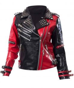 Studded Harley Quinn Psychotic Red and Black Leather Jacket