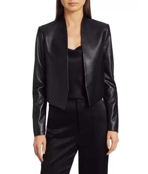 New Emily In Paris Emily Cooper Black Leather Jacket