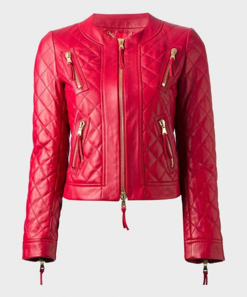 Stylish Quilted Womens Red Leather Jacket | Leren Jack