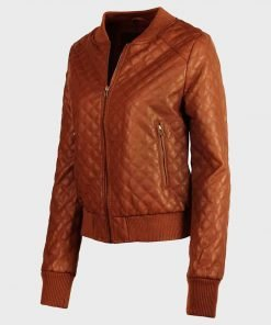 Stylish Tan Brown Quilted Womens Leather Jacket