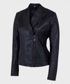 Stylish Shawl Collar Womens Black Leather Jacket