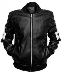 Black 8 Ball Style Bomber Leather Jacket