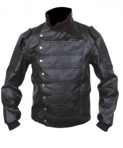 Bucky Barnes Movie Black Leather Jacket
