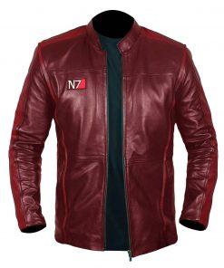 N7 Mass Effect 3 Biker Red Leather Jacket