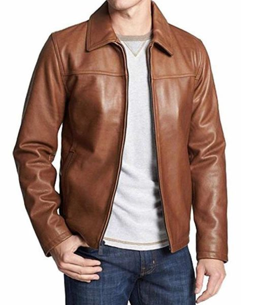 Mens Casual Shirt Collar Brown Leather Jacket