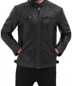 Mens Lambskin Biker Black Leather Jacket