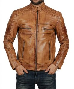 Mens Biker Tan Quilted Leather Jacket