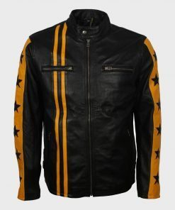 Men's Yellow Star Cafe Racer Black Leather Jacket