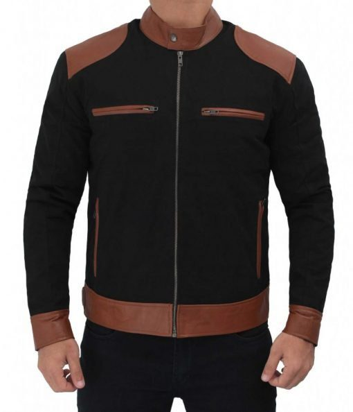 Black Cotton Jacket With Patched Leather