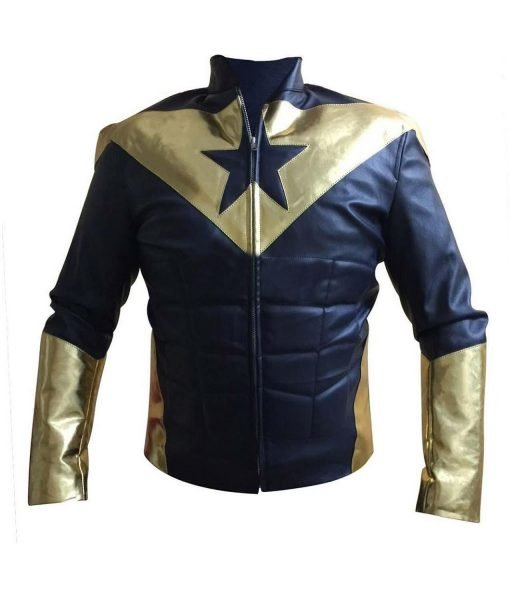 Mens Smallville Booster Gold Motorcycle Leather Jacket