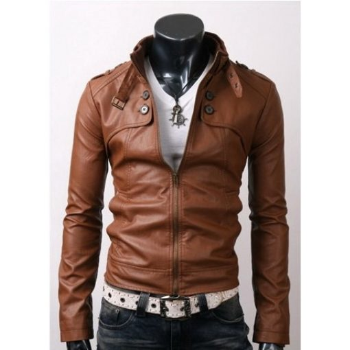 Slim Fit Rider Button Pockets Brown Leather Jacket