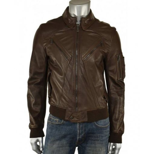 Casual Brown Mens Leather Jacket