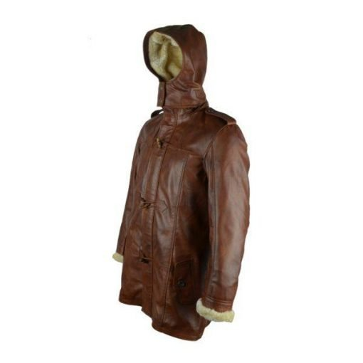 Women Hooded Brown Leather Long Coat