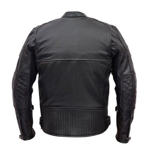 Scooter Police Style Motorcycle Black Leather Jacket
