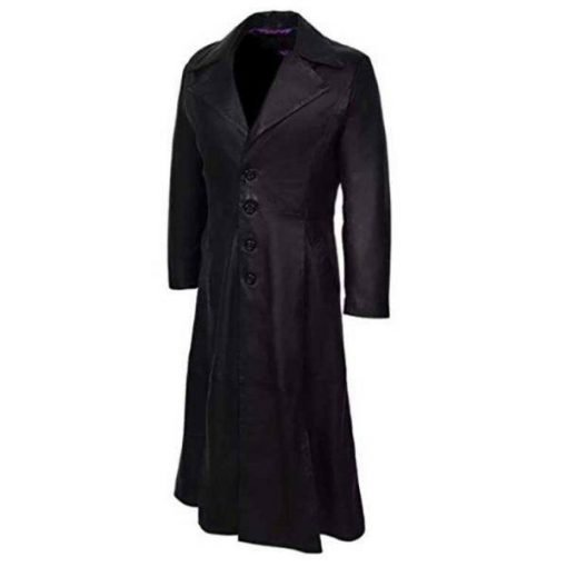 Halloween Trench Black Leather Long Coat