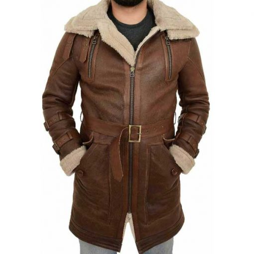 Faux Fur Long Trench Brown Leather Coat
