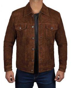Mens Dark Brown Suede Leather Jacket