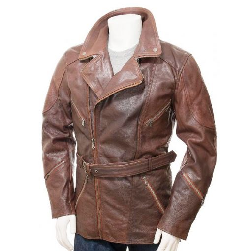 Mens Belted Brown Long Length Leather Coat