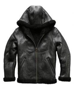 Mens Hodded Black Leather Bomber Jacket