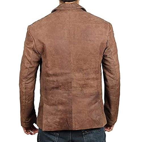 Mens Brown Real Leather Blazer