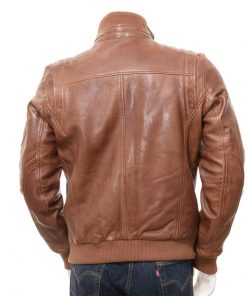 Mens Brown Breasted Leather Jacket