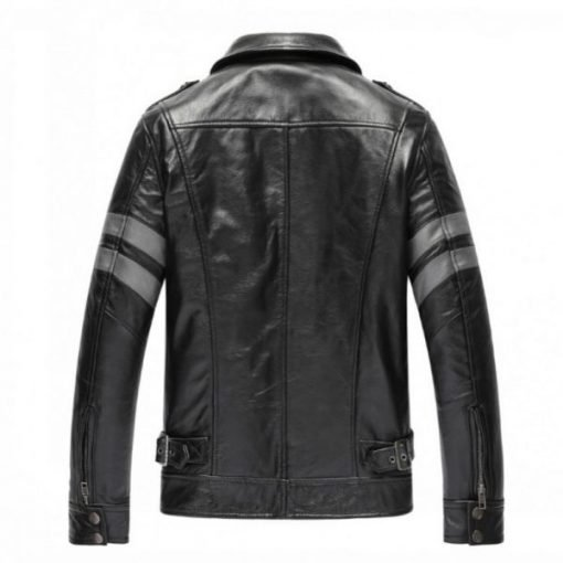 Mens Casual Pockets Black Real Leather Jacket
