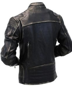 Mens Distressed Cafe Black Leather Jacket