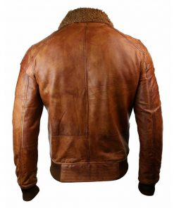 Mens Fur Collar Distressed Brown Bomber Leather Jacket