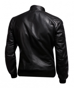 Mens Quilted Leather Bomber Jacket