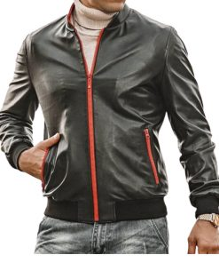 Mens Red Zip Bomber Leather Jacket