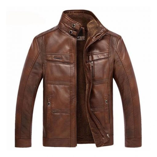 Mens New Stylish Brown Bomber Leather Jacket