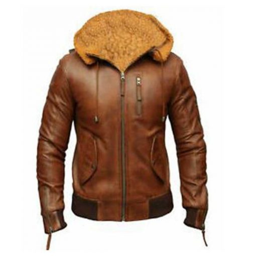 Bomber Hooded Brown Leather Jacket