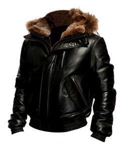 Hooded Bomber Black Leather Jacket