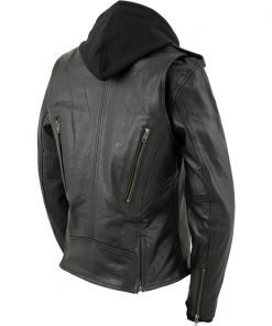 Xelement 'Madame' Black Hooded Vented MC Leather Jacket