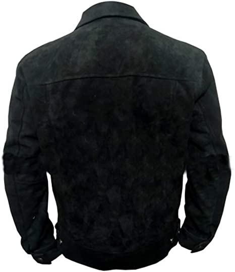 Yellowstone Rip Wheeler Cole Hauser Black Suede Leather Jacket