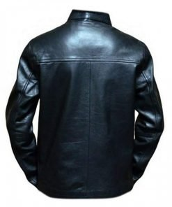 Mans Steve McQueen Gulf Le Motorcycle Black Leather Jacket