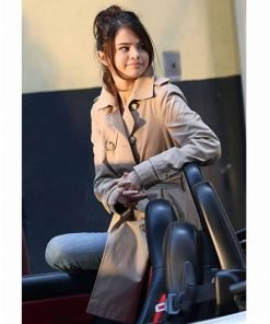 Selena Gomez A Rainy Day in New York Belted Coat