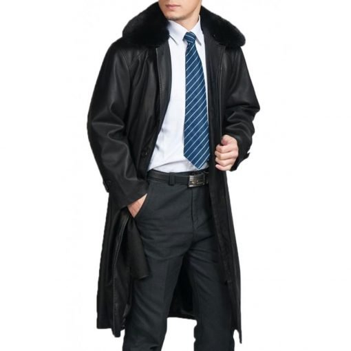 Mens Removable Fur Collar Black Trench Coat