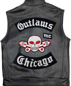 Mens Outlaw Chicago MC Leather Vest