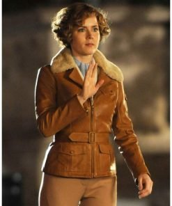 Night at The Museum 2 Amelia Earhart Leather Jacket with Fur Collar