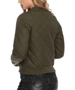 Evie MA-1 Army Green Quilted Bomber Jacket