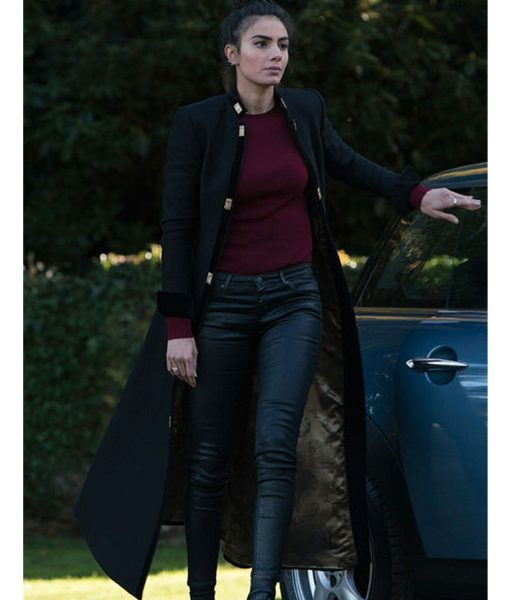 A Discovery of Witches Aiysha Hart Black Wool Coat
