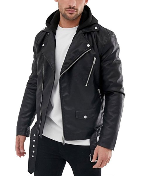 Daniel Zovatto Heavy Leather Jacket with Hood