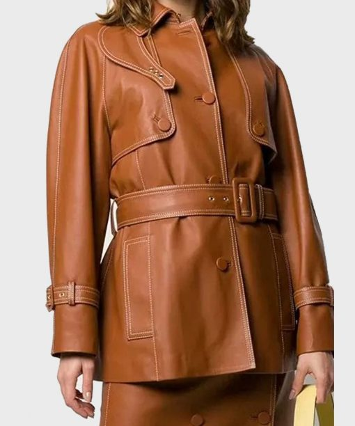 Women's Mid-Length Brown Leather Belted Coat