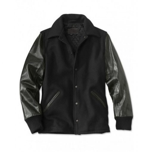 Men's Varsity Shirt Collar Jacket with Leather Sleeves
