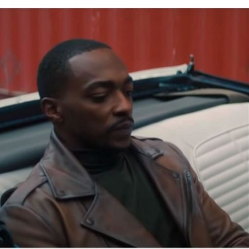 Anthony Mackie The Falcon and The Winter Soldier Brown Leather Jacket