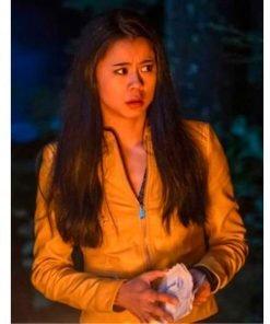 Leah Lewis Nancy Drew Yellow Leather Jacket