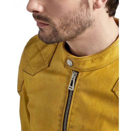 Men's Quilted Snap Tab Collar Cafe Racer Yellow Jacket